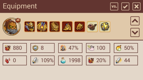 Little Empire Helper equipment stats page