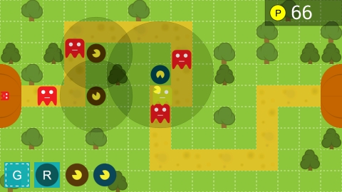 Tower defence game in progress